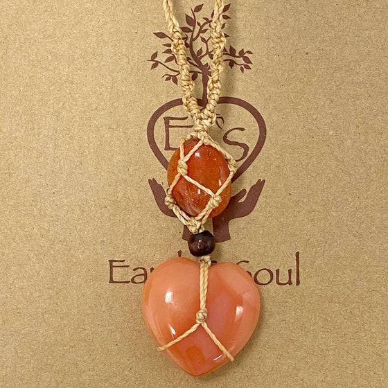 Carnelian Crystal Heart Necklace -  Natural cord