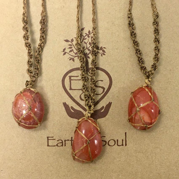 Carnelian Polished Crystal Necklace - Natural