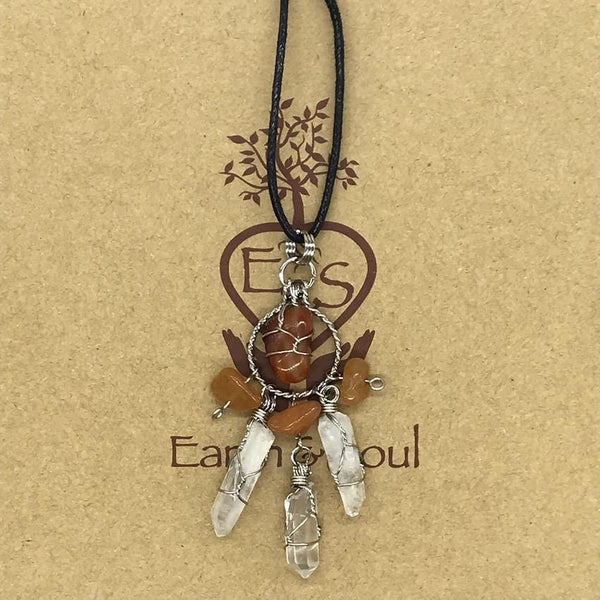Carnelian - Crystal Dreamcatcher Necklace