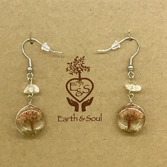 Tree of Life Drop Earrings - Carnelian