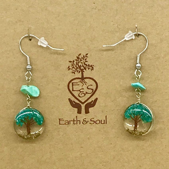 Tree of Life Drop Earrings - Chrysocolla