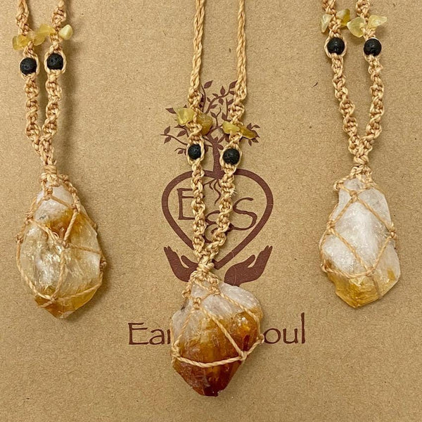 Citrine Decorative Crystal Necklace - Natural cord