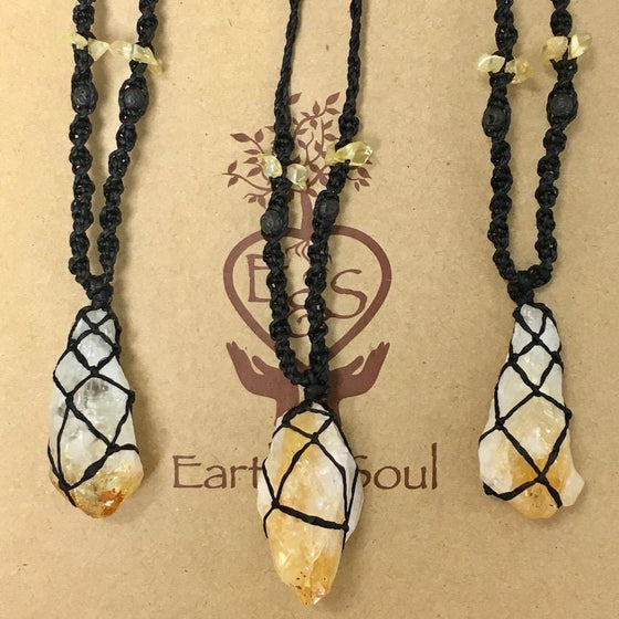 Citrine Decorative Crystal Necklace - Black cord