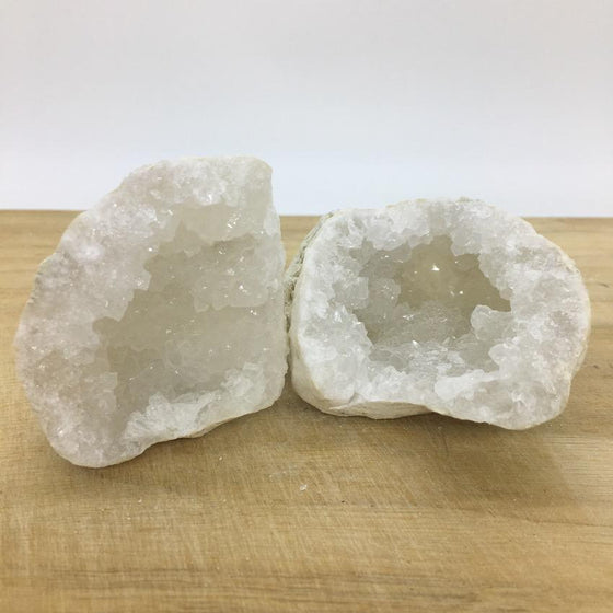 Clear Quartz with Calcite Geode Pair - #5 - open