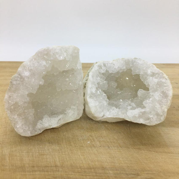 open - Clear Quartz with Calcite Geode Pair - #2