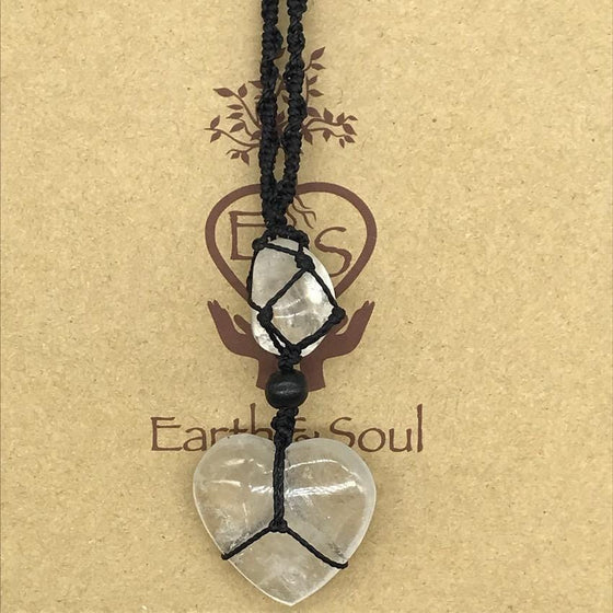 Clear Quartz Crystal Heart Necklace