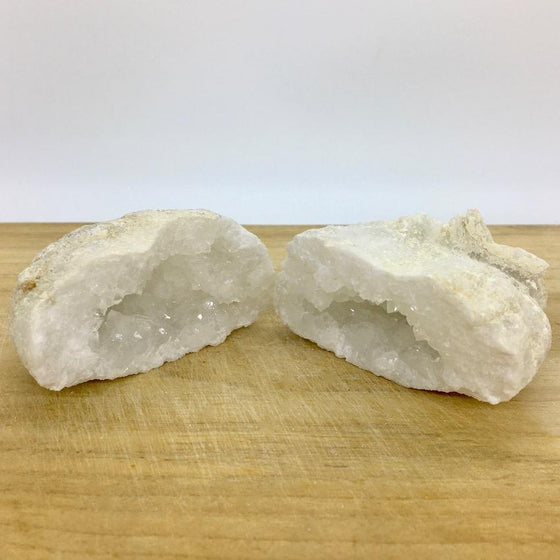 Clear Quartz with Calcite Geode Pair #4 - Open