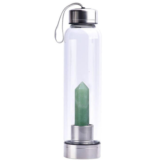 Aventurine Crystal Water Bottle 550ml - Stainless Steel