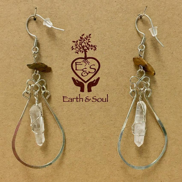 Clear Quartz Point Decorative Earrings - Tiger Eye