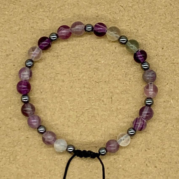 Crystal Bracelet with Hematite Spacers - Fluorite