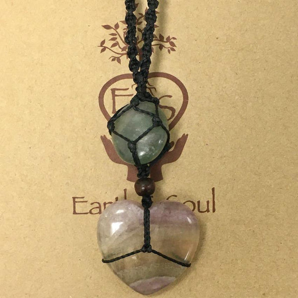 Fluorite Crystal Necklace Heart