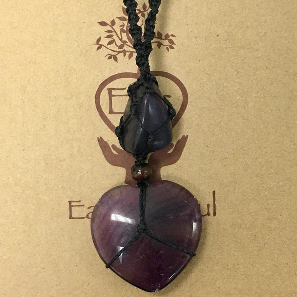 Fluorite Heart Crystal Necklace