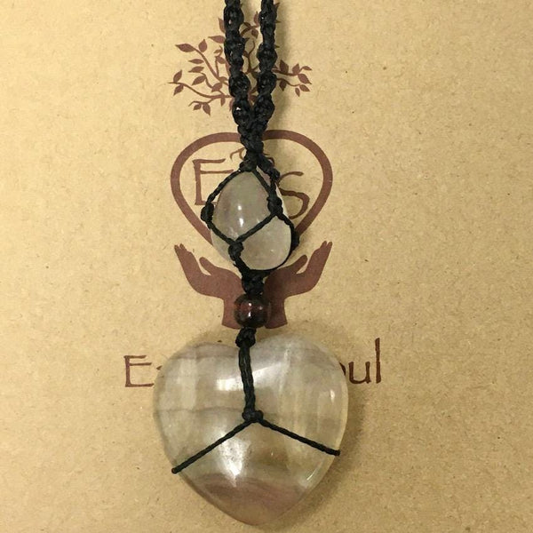 Heart Crystal Necklace - Fluorite