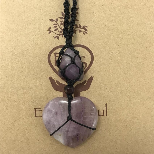 Fluorite Crystal Heart Necklace