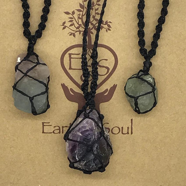 Fluorite Crystal Necklace - Black