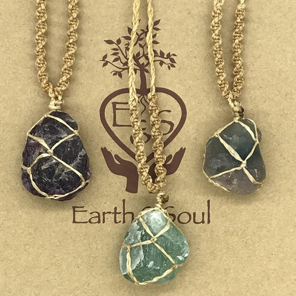 Fluorite Crystal Necklace - Natural