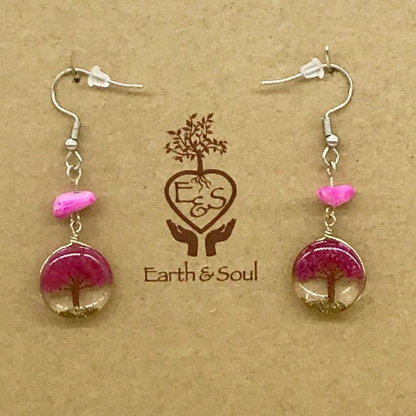 Tree of Life Drop Earrings - Fuchsia Agate