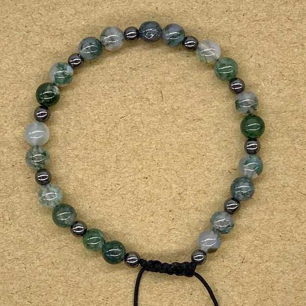 Crystal Bracelet with Hematite Spacers - Moss Agate
