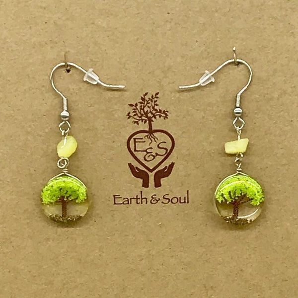 Tree of Life Drop Earrings - Green Agate