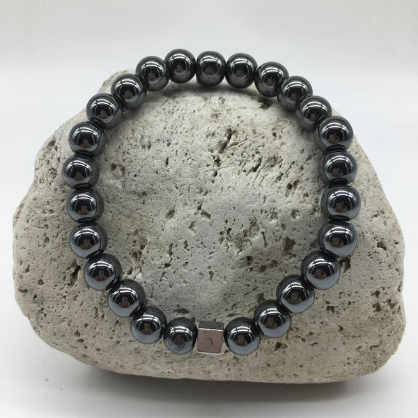 Hematite 8mm Stone Bracelet with Square Burnished Silver Spacer