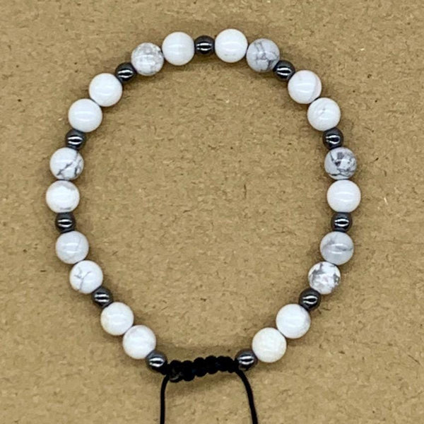 Crystal Bracelet with Hematite Spacers - Howlite