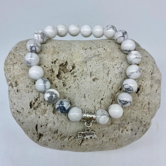 Howlite 8mm Stone Bracelet with Elephant Charm
