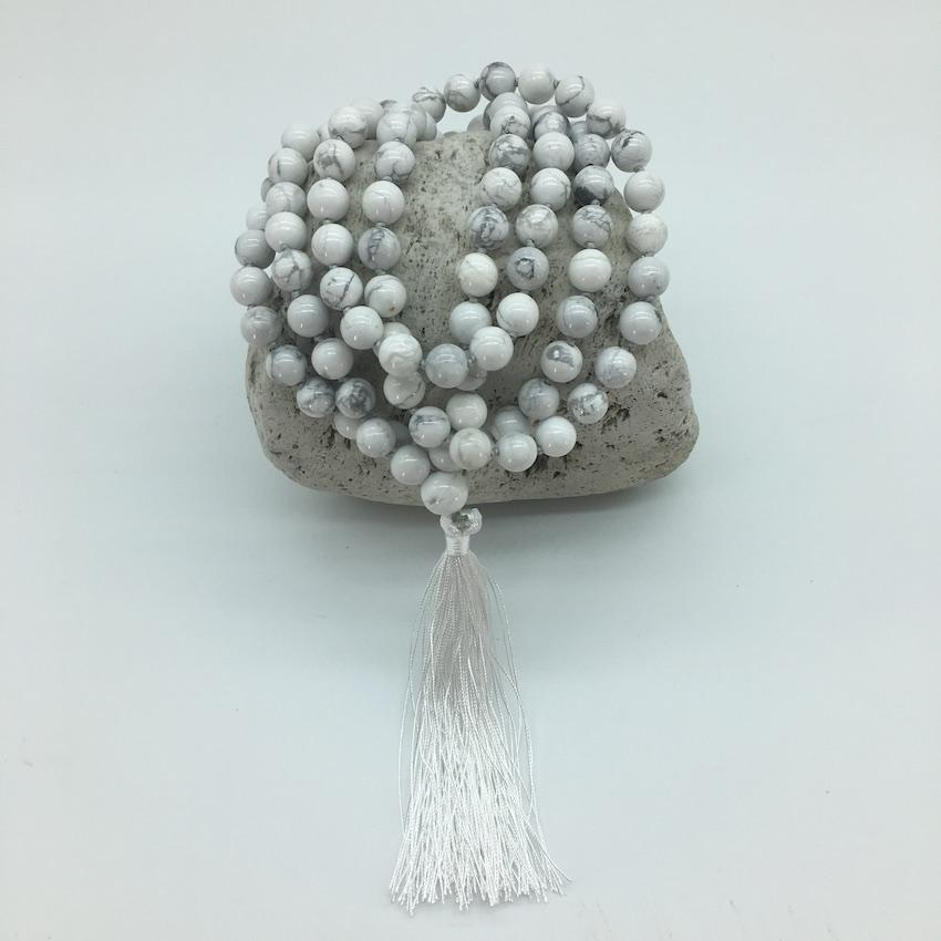 Howlite 8mm Stone Mala Necklace with Decorative Tassle