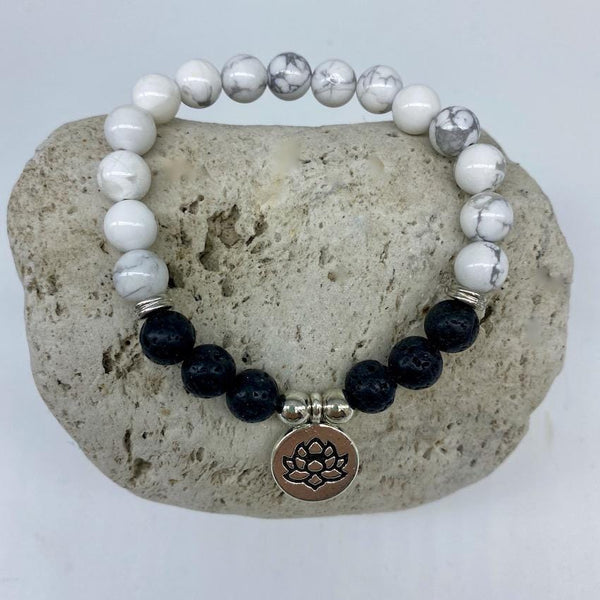 Howlite and Lava Rock 8mm Stone Healing Bracelet with Lotus Charm