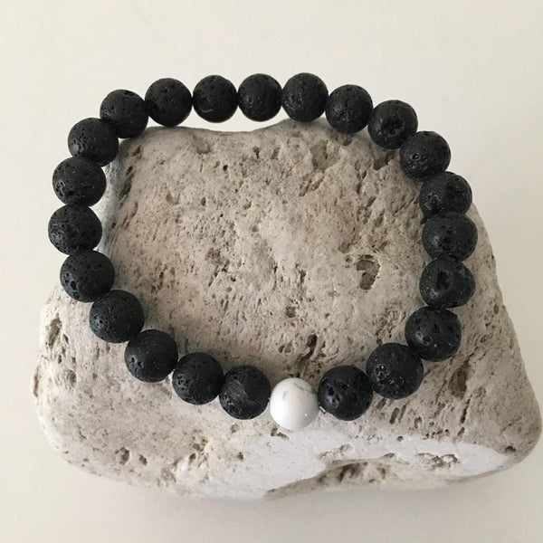 Howlite and Lava Rock 8mm Stone Healing Distance Bracelet