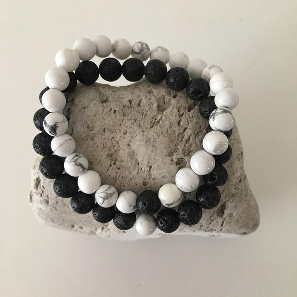 Howlite and Lava Rock 8mm Stone Healing Distance Bracelets