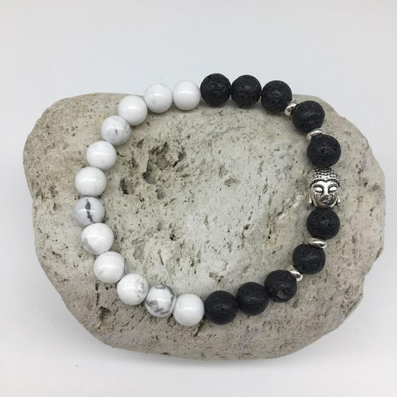 Howlite and Lava Rock 8mm Stone Healing Bracelet with Buddha Charm