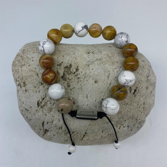 Howlite and Onyx 10mm Stone Bracelet - Adjustable