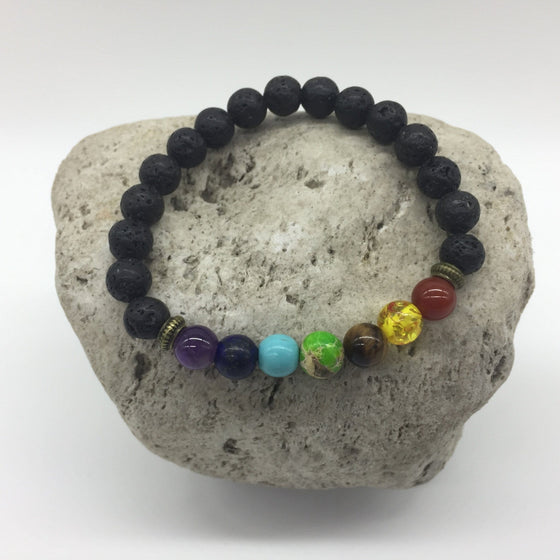 7 Chakra Lava Rock Healing Bracelet Burnished Gold Spacer