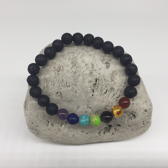 7 Chakra Lava Rock Healing Bracelet 8mm - Earth And Soul