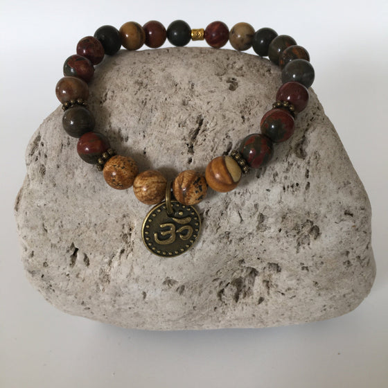 Picture and Picasso 8mm Jasper Stone Bracelet with Om Charm