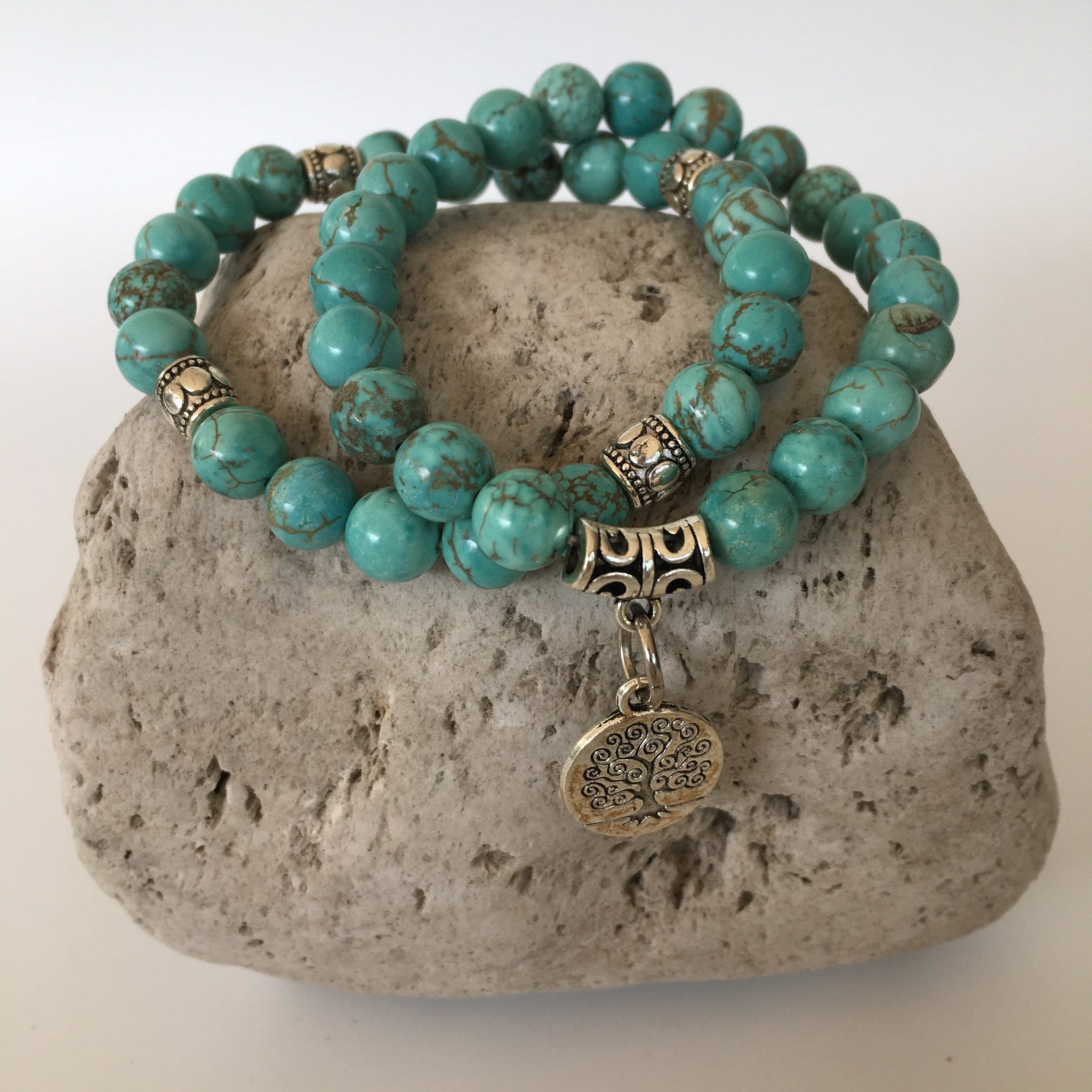 Turquoise 8mm Stone Bracelet Set with Tree of Life Charm