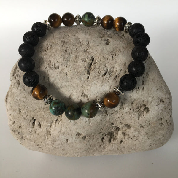 Lava Rock, Tiger Eye and African Turquoise Stone Bracelet 8mm
