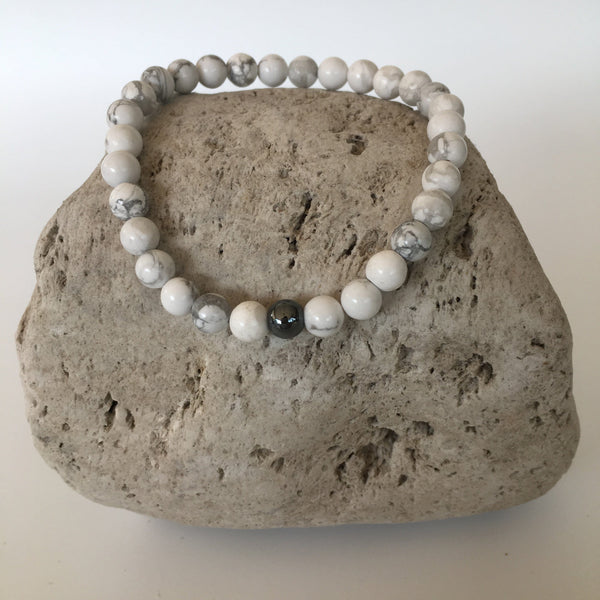 Howlite and Hematite 6mm Stone Bracelet