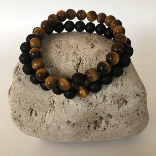 Tiger Eye and Black Agate 8mm Stone Distance Bracelets
