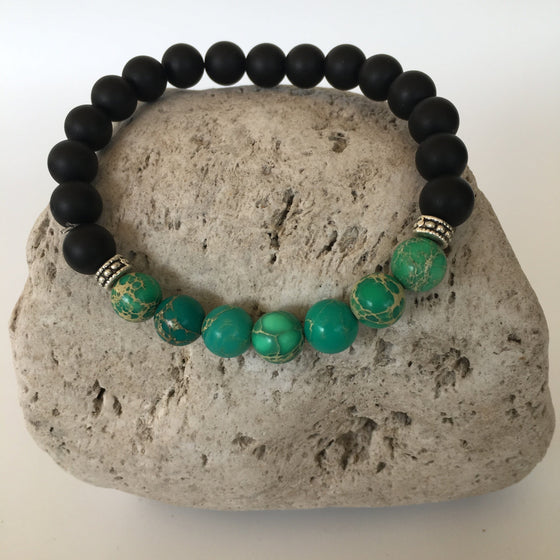 Black Agate and Green Imperial 8mm Stone Bracelet