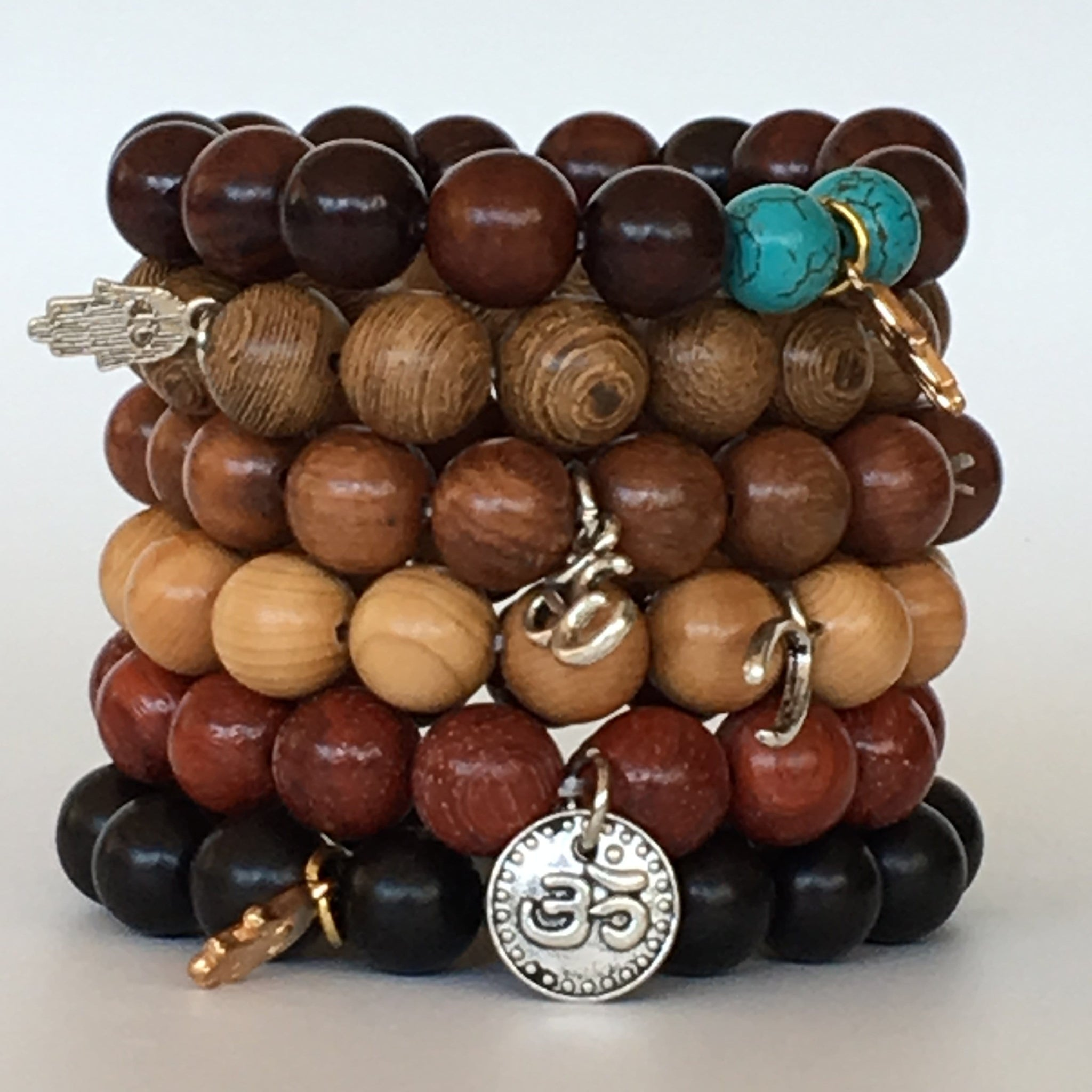 Mala Wooden 12mm Bead Bracelet Set with Various Charms