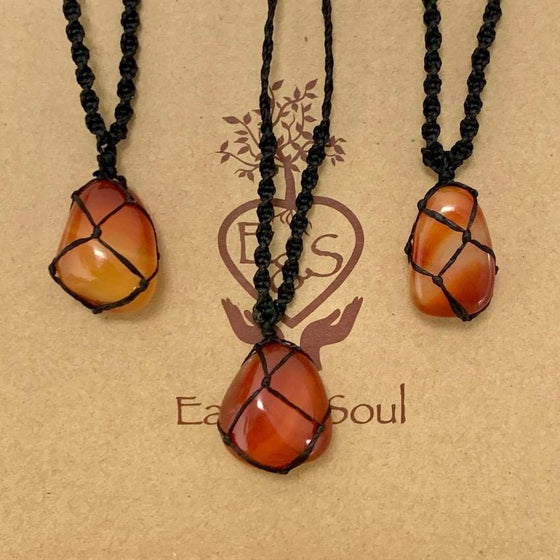 Carnelian Polished Crystal Necklace - Black