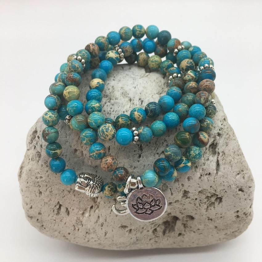 Imperial Turquoise 6mm Stone Bracelet with Lotus and Om Sign Charms