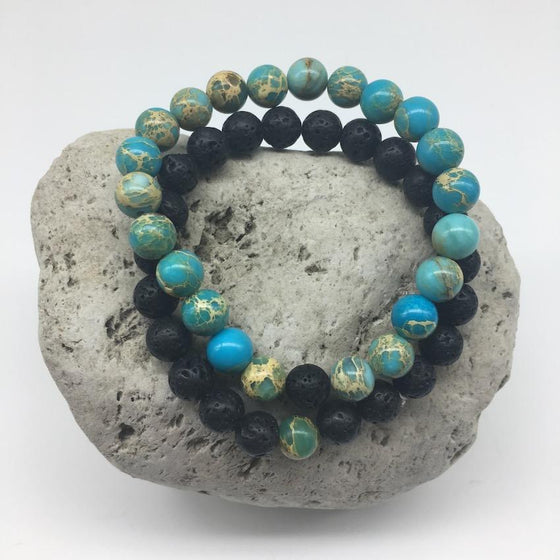 Imperial Turquoise and Lava Rock 8mm Stone Healing Distance Bracelets