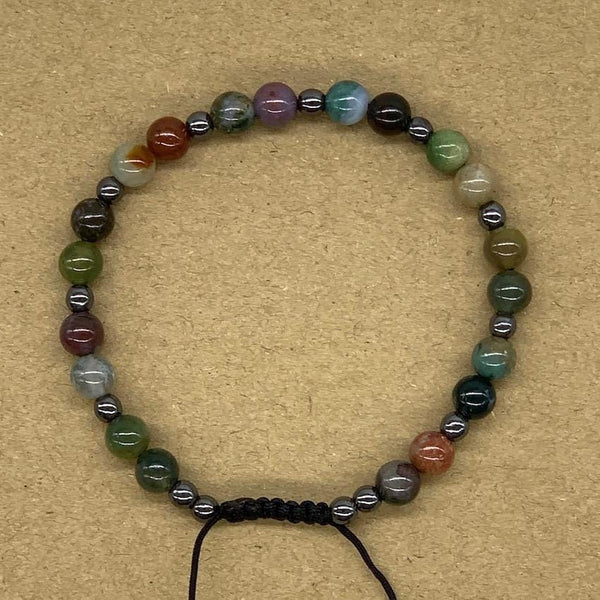 Crystal Bracelet with Hematite Spacers - Indian Agate