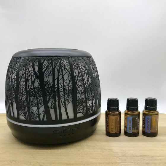 Winter Combo Lantern Large Black & doTERRA Essential Oils