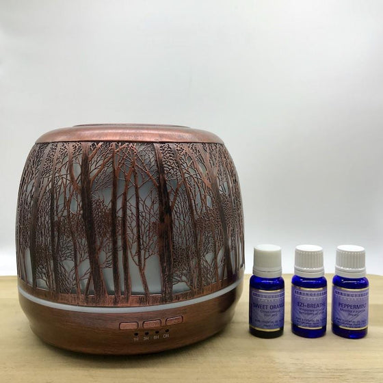 Winter (a) - Aroma Diffuser Lantern Large 500ml Brushed Bronze plus Essential Oils Combo