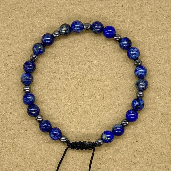 Crystal Bracelet with Hematite Spacers - Lapis Lazuli