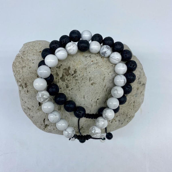 Howlite and Lava Rock 8mm Stone Healing Distance Bracelets - Adjustable