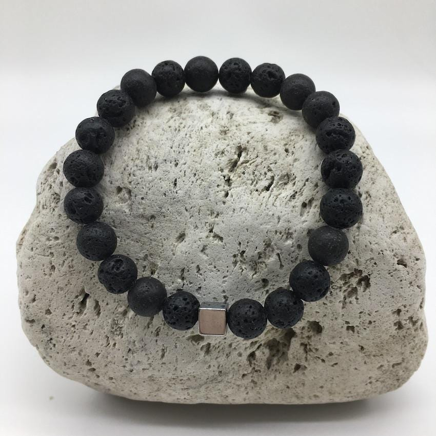 Lava Rock 8mm Healing Bracelet with Burnished Silver Spacer